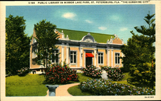 Postcard of Mirror Lake Community Library